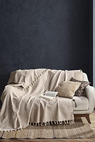 BOHORIA® Tagesdecke Nomade extra groß 165 x 220cm | 100% Baumwolle | Überwurf für Sofa, Sessel & Bett | Kuscheldecke Sofadecke Wolldecke Wohndecke (Sepia)