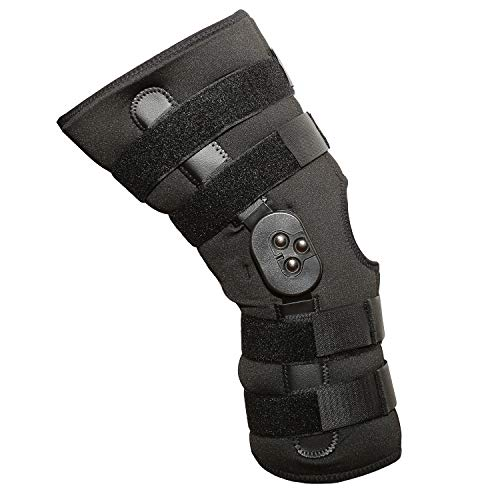 Universal Hinged Knee Brace, Support Compression for ACL/PCL Injuries, Patella Support, Sprains, Hypertension (Large)
