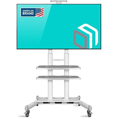 ONKRON Supporto TV Carrello TV da pavimento per schermi 55' - 80 Pollici LCD LED QLED - Stand TV con ruote universale VESA max. 800x500 mm TS18-81
