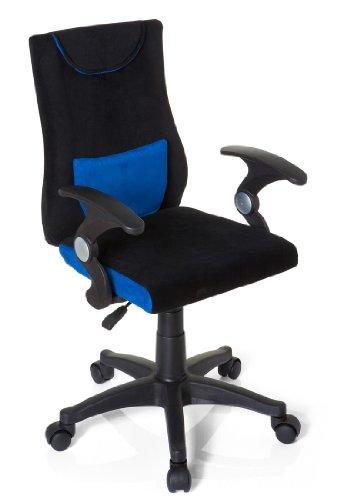 hjh OFFICE 670470 kinder bureaustoel KIDDY PRO AL stof zwart / blauw armleuningen comfortabele bekleding kinderstoel bureau chair