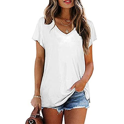 Manga Corta Mujer Blusa Moda Simple Verano Cuello V Color Sólido Mujer Tops Exquisito Tenedor Partido Diseño Ocio Diario Cómoda Transpirable All-Match Mujer T-Shirts A-White XL