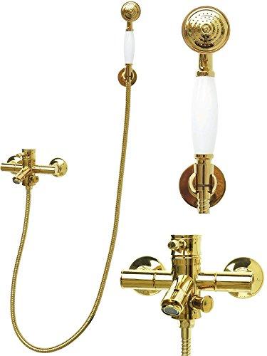 Badewannenarmatur mit Handbrause Gold Retro Brauseset Wannenset Mischbatterie Duschkopf Einhandmischer Armatur