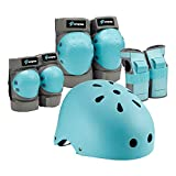 S SPOFINE Kids & Adult Helmet, Knee and Elbow Pads with Wrist Guards, Protective Gear Set (7 Pieces ) for Youth, Boys and Girls' Skateboard, Bike, Roller Skating, Cycling, Scooter, Rollerblade