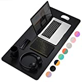 Dual-Sided Multifunctional Desk Pad, Waterproof Desk Blotter Protector, Leather Desk Wrting Mat Mouse Pad (31.5' x 15.7', Black)