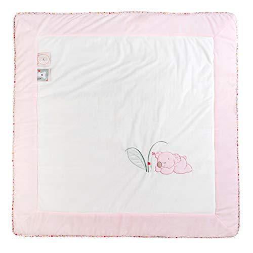 Nattou 631341 - Manta para parque de bebé del koala iris, 100 x 100 cm, iris y lali, blanco/rosa, niñas