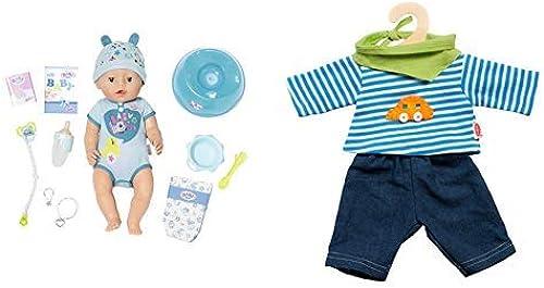 Zapf Creation 824375  Baby Born Soft Touch Boy Puppe, bunt & Heless 2315 Unisex Baby Kostüm Jeans mit gestreiftem Hemd, 35-45 cm