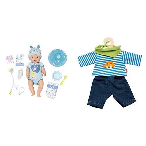 """Zapf Creation 824375\"""" Baby Born Soft Touch Boy Puppe, bunt & Heless 2315 Unisex Baby Kostüm Jeans mit gestreiftem Hemd, 35-45 cm"""