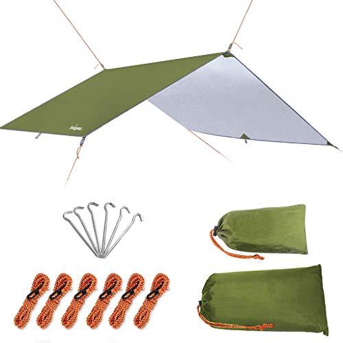 Unigear Zeltplane, Tarp für Hängematte, wasserdicht mit Ösen + 6 Erdnägel+ 6 Seilen, Regenschutz Sonnenschutz für Ourdoor Camping MEHRWEG (Grün-300 x 500cm)