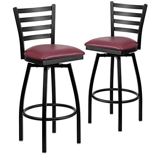 Flash Furniture 2 Pack HERCULES Series Black Ladder Back Swivel Metal Barstool - Burgundy Vinyl Seat