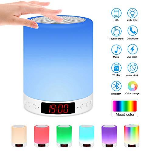 Nachttischlampe mit Bluetooth Lautsprecher, Berührungssensor Nachtlicht Nachttischlampe mit Wecker/Uhr/FM/TF Karte Slot, Stimmungslicht Nachttischlampe mit 7 Farbwechselnden Tragbaren (Farbe)