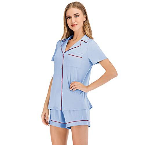 SAMGU Pijama para Mujer Manga Cortas Pijamas Verano 2 Piezas Ropa con Botones Pijama