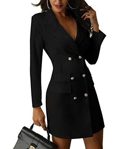 ours blazers for women Women's British Double Breasted Turn Down Collar OL Blazer Dress Slim Fit Office Dress Mini Long Trench Coat