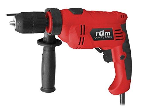 Taladro percutor profesional RDM Quality Tools PRO 70051, 710W, giro reversible, velocidad variable, botón de bloqueo de la velocidad. Color rojo y negro.