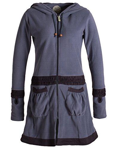 Vishes - Alternative Bekleidung - Langer Fleecemantel mit Handstulpen, Daumenlöchern und extra großer Cape Kapuze grau 44/46