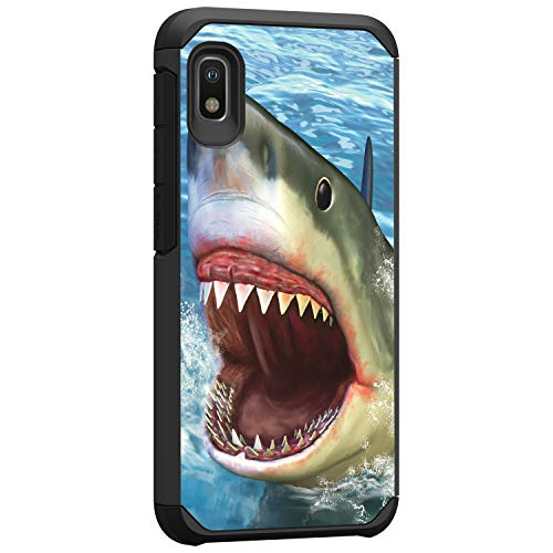 TurtleArmor | Compatible with Samsung Galaxy A10e Case | Samsung Galaxy A20e Case | Shockproof Hybrid Impact Armor Slim Case Sea Ocean - Shark Attack