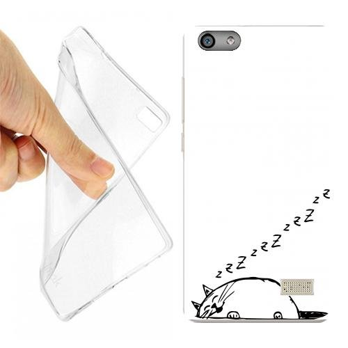 Custodia Cover Case Gatto DORMIGLIONE per Huawei G Play Mini Opaco