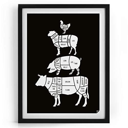 Follygraph Küche Poster - Meat Cuts - Küche Bild, Kitchen Poster, schwarz - (30x40cm)