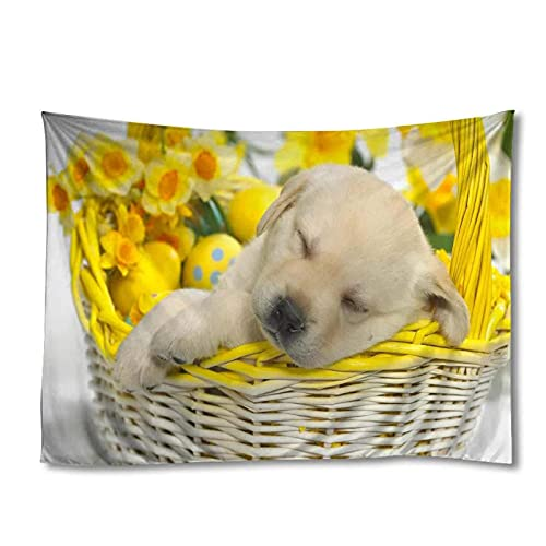 Tapiz by BD-Boombdl Decoración de cachorros de animales Canasta de Pascua Tapiz Art Deco para el hogar Estera de yoga Estera para dormir 59.05'x78.74'Inch(150x200 Cm)