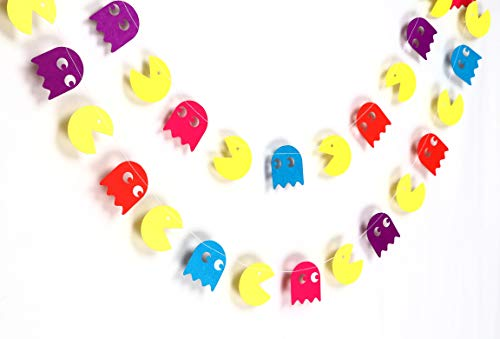 Pac-Man Hanging Garland 12ft Decoration. Give your party a colourful retro gaming theme