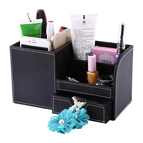 Guoenir Organizador estacionario de Escritorio liviano de 9.2 x 4.1 x 4.8 Pulgadas, Almacenamiento de papelería de Escritorio de Cuero, Estructura de Madera Negra para Oficina en casa