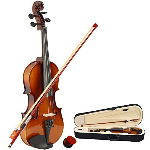 Acoustic Violin Starter Kit with Case, Bow, Rosin, Strings, Shoulder Rest Matt Wood Fiddle for Beginners and Students Size 1/2