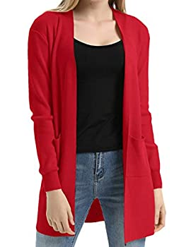 Classic Open Front Soft Drape Long Cardigan with Pockets S,Red