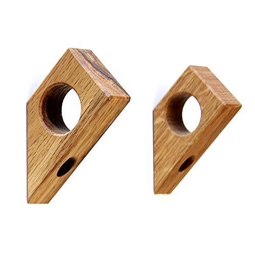 Kardamov Studio Wandhaken Holz 45° 2 Stück | Handgemachte Kleiderhaken aus Eiche in Berlin | Modern Wand Dekor 8cm mit Loch für Anhänger