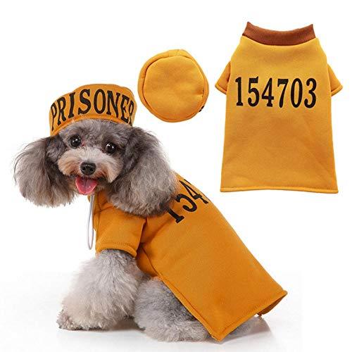 MUXIAND Halloween Huisdier Kleding Honden Letter Gedrukte Jas Hoed Set Puppy Cosplay Kostuum Grappige Gevangenis Garb Met Getallen Kleding, L