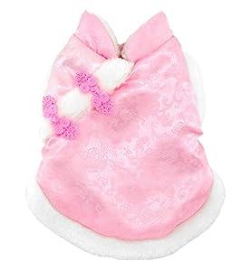 smalllee _ LUCKY _ ranger Pet vêtements pour petit chien chat chinois Impérial Antique Costume Couverture en soie avec doublure en polaire pour chien