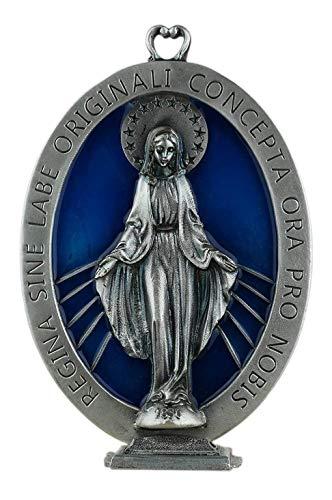 Eurofusioni Medallón chapeada Plata Virgen Milagrosa - Cm 9,5 x 13,5