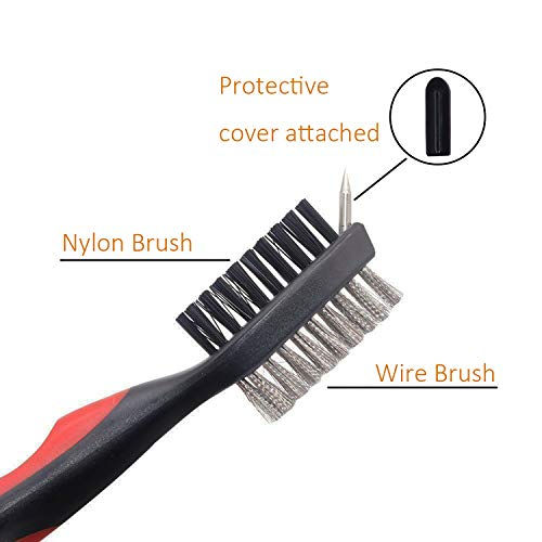 Golf Club Brush and Club Groove Cleaner, Nylon & Steel Brush Golf Clean tool with Retractable Zip-line, Aluminum Carabiner- Lightweight/Ergonomic Design/Easily Attaches to Golf Club Bag