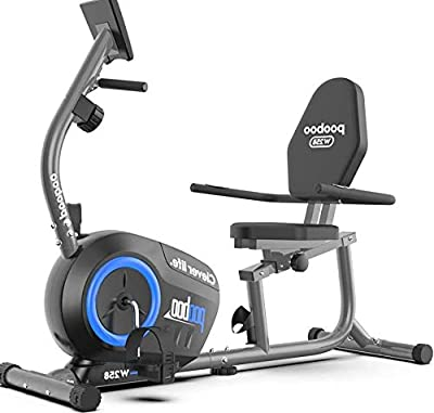 pooboo Magnetic Recumbent Bike Exercise Bike with 8 Levels Resistance Indoor Cycling Stationary Bike for Adults Seniors with Monitor and Adjustable Seat(Blue)