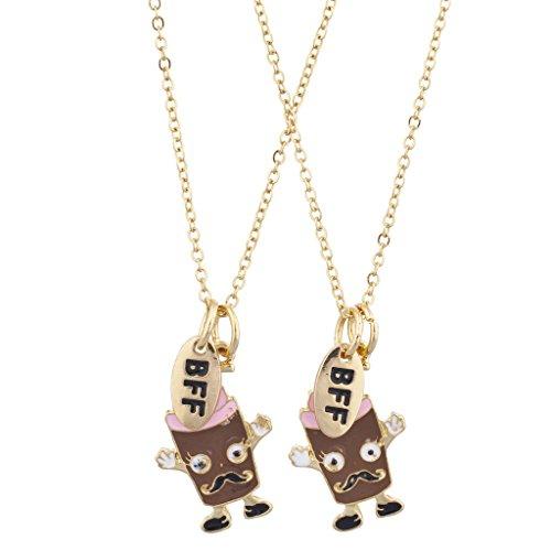 LUX Zubehör Gold Ton BFF Schokolade Shake Schnurrbart Charm Halskette Set (3St)
