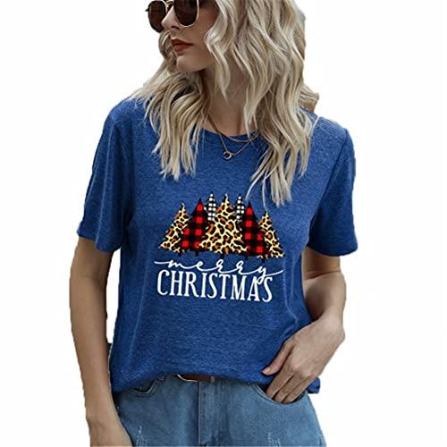 ZFQQ Camiseta de Manga Corta Informal con Cuello Redondo y Estampado Multicolor de árbol de Navidad para Mujer de Verano