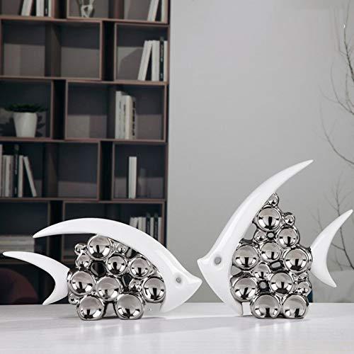 BOZNY Estatua de la Escultura Pareja Doble Beso Pescado Moderno florero cerámica Muebles para el hogar para Sala de Estar decoración del hogar Plata Burbuja