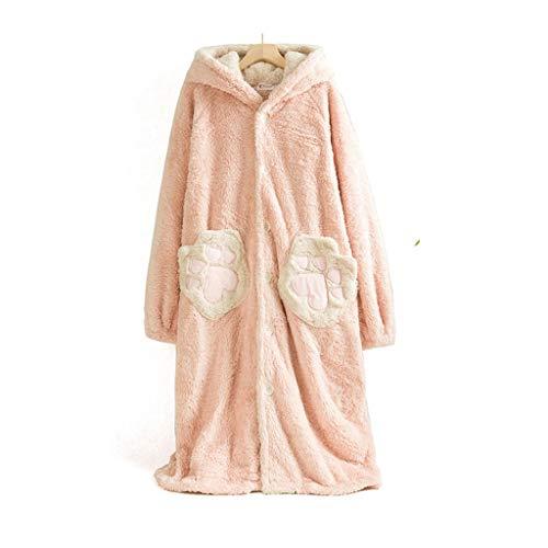 WALNUT Ropa de Dormir con Capucha para Mujer Pijamas para Mujer Pijamas para Mujer Casa Ropa de Invierno Salón Dibujos Animados Kimono Robe Ropa Interior de Albornoz (Color : A)