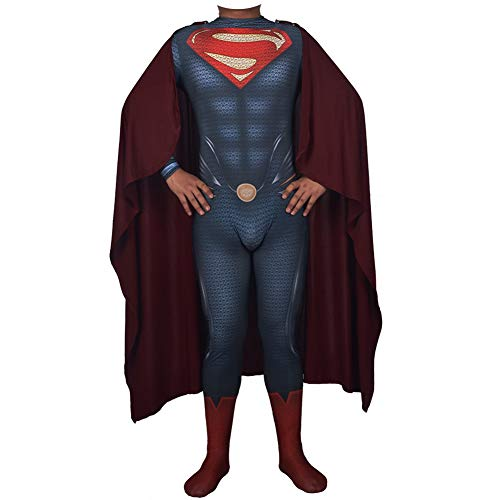 Traje de Superman, Superman El Hombre de Acero Cosplay Ropa, Adulto Niños de la Mascarada de Halloween Props Body Navidad Clark Kent Disfraz,Male-L