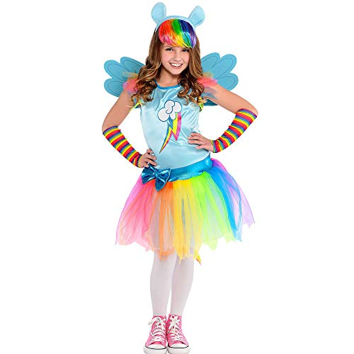 Costumes USA My Little Pony Rainbow Dash Costume for Girls, Size Small, Includes a Dress, Wings, Arm Warmers, and More