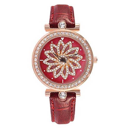 JZDH Women Watches Fashion Rotating Flower Surface Texture Belt Mesh Strap Watch Women's Jewelry Creative Design Ladies Girls Casual Decorative Watches (Color : B)
