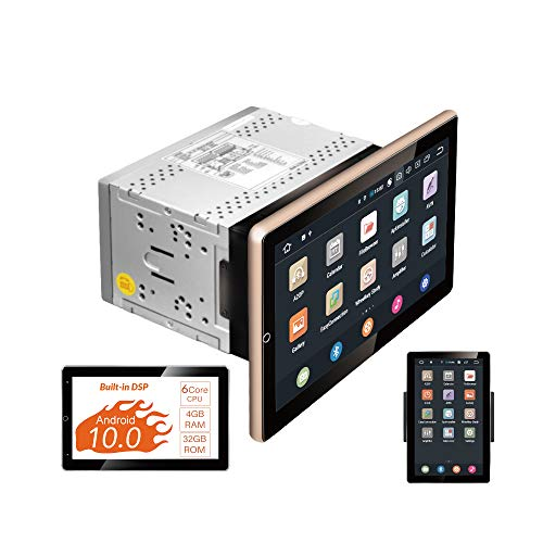Android 10 Car Stereo, 10.1' 90 Rotated Touchscreen, 6 Core, DSP+, Universal Double Din, Support Apple carplay Android auto/GPS Navi/HD1080P/Fast Boot
