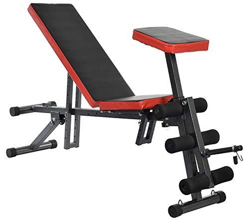 IRIS Carbon Steel 7 in1 Sit up Durable Weight Preacher Armrest Curl Adjustable Decline Bench (Black, 150x40x60 cm)