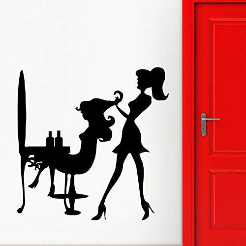 Mrlwy Calcomanía de pared de moda estilista peluquero corte de pelo pegatinas de vinilo para ventana salón de belleza peluquería decoración interior papel tapiz 57x57cm