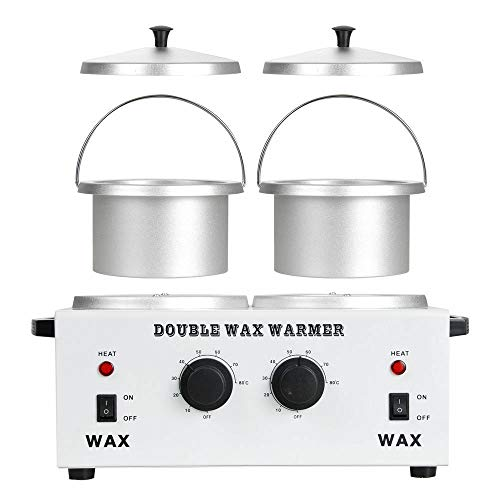 """Double 4.3"""" Aluminum Pot Melting Wax Warmer Electric Hot Wax Heater Machine For Facial Total Body Hair Removal"""