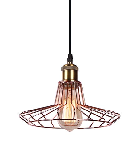 INNOTECK DS-1064 Vintage Pendelleuchte Lampenschirm - Retro Rose Kupfer Metall Käfig Kronleuchter Lampenschirm