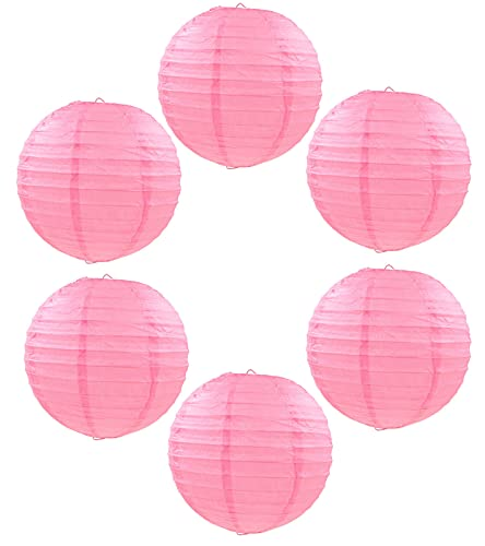 Decorative Round Chinese Japanese Paper Lantern (6pc) (Pink red, 10 Inch)