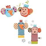 ThinkMax 4PCS Sonajeros para bebés, Sonajeros de muñeca de Terciopelo Lindo...