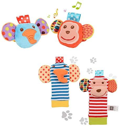 ThinkMax 4PCS Sonajeros para bebés, Sonajeros de muñeca de Terciopelo Lindo para Animales y Buscador de pies, Juguetes de Peluches de Desarrollo para bebés