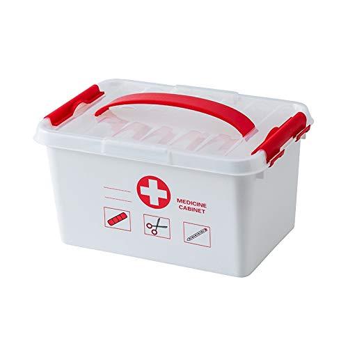 N / A Große Medizin-Kit-Box Medizinische Boxen Kunststoffbehälter Mehrschichtiger Aufbewahrungsorganisator Erste-Hilfe-Kit Hausapotheke für den Außenbereich 25 * 15,5 * 16CM