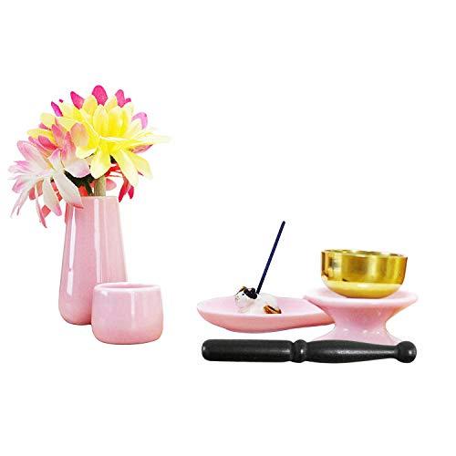 ペット仏具 6点セット ピンク おりん(こりん) 信楽焼 猫 三毛 お線香立て ハート型お香皿つき
