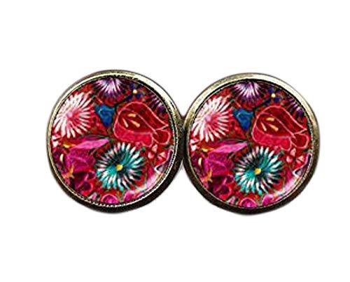 Pendientes de flores rosas, diseño bohemio, arte folk, estilo bohemio, pendientes de tuerca, arte étnico